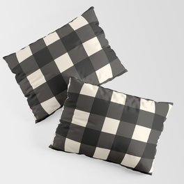 Large Gingham Check Pattern in Black and Almond Cream Pillow Sham