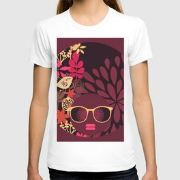 Afro Diva : Sophisticated Lady Deep Pink & Burgundy T-shirt