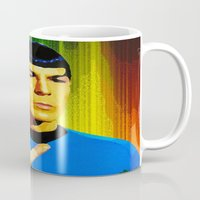 spock Mugs featuring Spock by The Art Of Gem Starr