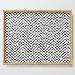 Black & White Hand Drawn ZigZag Pattern Serving Tray