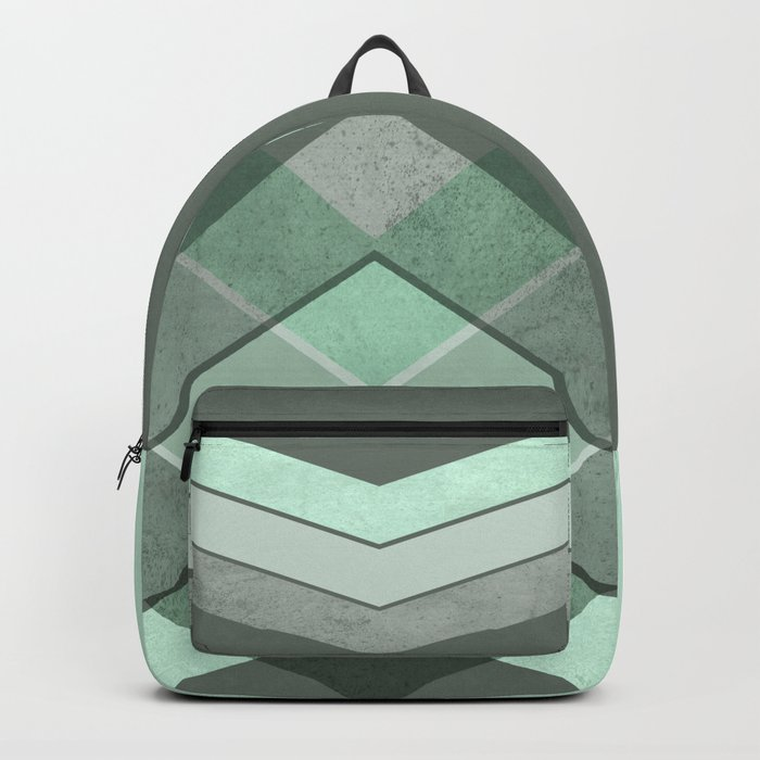 MINT TEAL GRAY CONCRETE CHEVRON Backpack