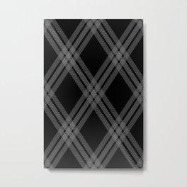 Modern Scottish plaid Black and White Metal Print