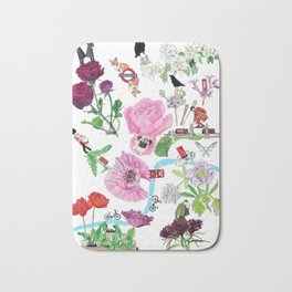 London in Bloom - Flowers and transportation that make London Bath Mat