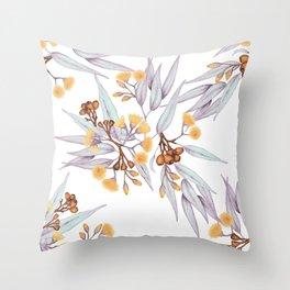 Gumnuts Eucalyptus Gold Silver Lilac Throw Pillow