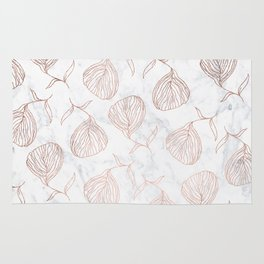 Modern girly rose gold hand drawn floral white marble pattern Rug