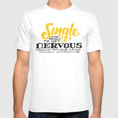 Single... MEDIUM Mens Fitted Tee White