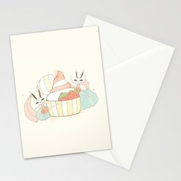 Bunny In Tutu: frozen yoghurt Stationery Cards