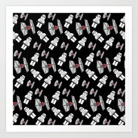 Tie Fighters-Black Art Print