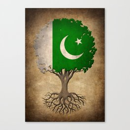 Vintage Tree of Life with Flag of Pakistan Canvas Print