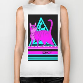 Pink Cat in Space Biker Tank