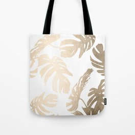 Simply Tropical Palm Leaves in White Gold Sands Tote Bag