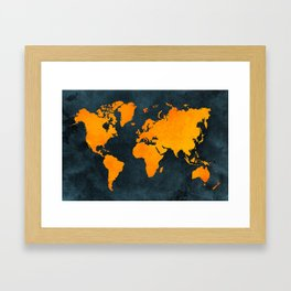 Map of the World - Inverted Bright Rust Framed Art Print
