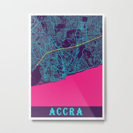 Accra Neon City Map, Accra Minimalist City Map Art Print Metal Print
