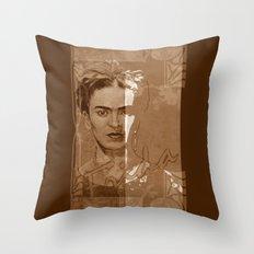 Frida Kahlo - between worlds - sepia Throw Pillow