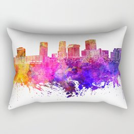 Akron skyline in watercolor background Rectangular Pillow