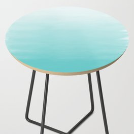 Modern teal watercolor gradient ombre brushstrokes pattern Side Table