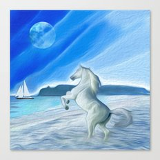 My Design - Beach with moon and horse Canvas Print
