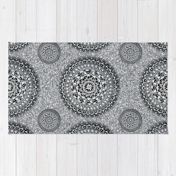 Silver Sparkle And Hand Drawn Metallic Mandala Textile Rug