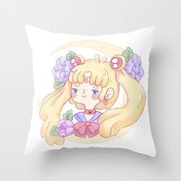 Sailor Moon & Peonies Throw Pillow