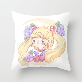 Sailor Moon & Peonies Throw Pillow
