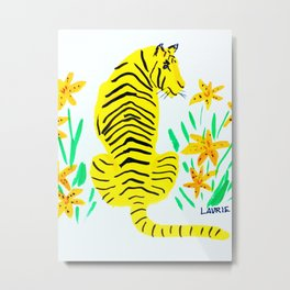 Tiger and Tiger Lillies Metal Print