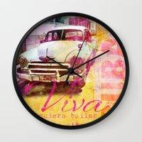 cuba Wall Clocks featuring Viva Cuba by LebensART