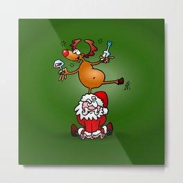 Reindeer is having a drink on Santa Claus Metal Print