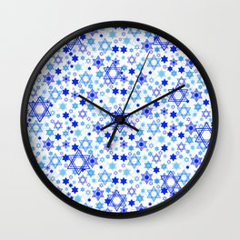 Dynamic Blue Stars of David Pattern Wall Clock