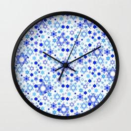 Dynamic Blue Stars of David Pattern Wall Clock