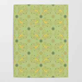 Flowers & Flourishes, yellow & greens Poster