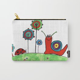 Summer Joy - Abstract Snail and Flowers Carry-All Pouch