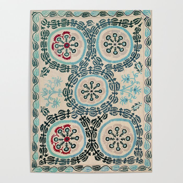 Ferghana Suzani  Northeast Uzbekistan Embroidery Print Poster