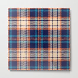 Colorful plaid pattern in blue, orange, beige. Herringbone textured seamless bright tartan check plaid graphic Metal Print