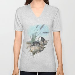 Mice in the reed overviewing the ocean Unisex V-Neck