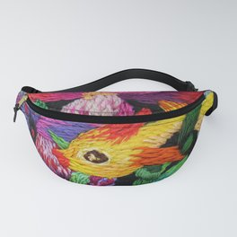 embroidered gold fish with pink flowers Fanny Pack
