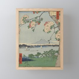Cherry Blossoms on Spring River Ukiyo-e Japanese Art Framed Mini Art Print