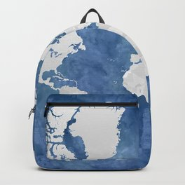 Navy blue watercolor and light grey world map with countries (outlined) Backpack