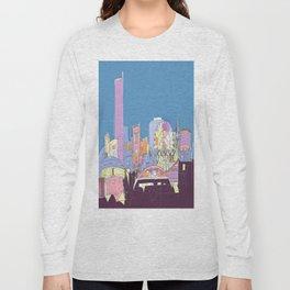 Manchester Skyline Opera House Hilton Hotel Railway City Town Hall England GB UK Long Sleeve T-shirt