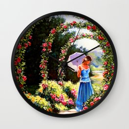 Alley of roses Wall Clock