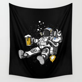 Astronaut Drinking Beer Space Party Wall Tapestry