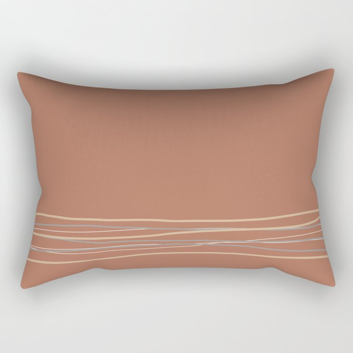 Sherwin Williams Cavern Clay Warm Terra Cotta SW 7701 with Scribble Lines Bottom in Accent Colors Rectangular Pillow