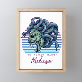 Medusa Snake Head Greek Mythology 80s Neon Retro Framed Mini Art Print