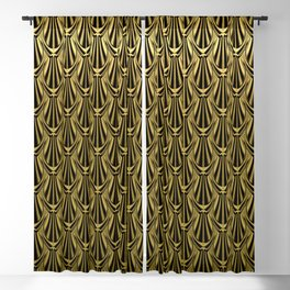 Overlapping Shell Pattern in Gold Blackout Curtain