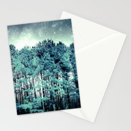 Tall Trees Galaxy Skies Muted Turquoise Steel Blue Stationery Cards