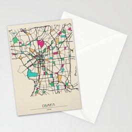 Colorful City Maps: Osaka, Japan Stationery Cards
