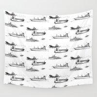 ships Wall Tapestries featuring Mediterranean Ships by EVILJAZZMIDGET