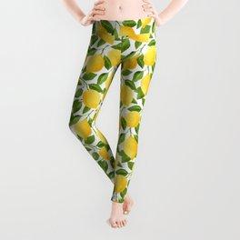 Yellow Lemon Watercolor Fruit Leggings