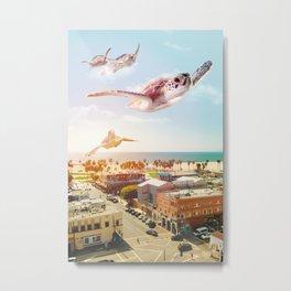 TURTLES OVER VENICE BEACH Metal Print