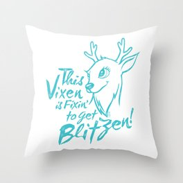 Vixen Fixin' in winter teal distressed Throw Pillow