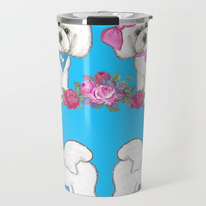 Bichon Frise dogs with roses Travel Mug
